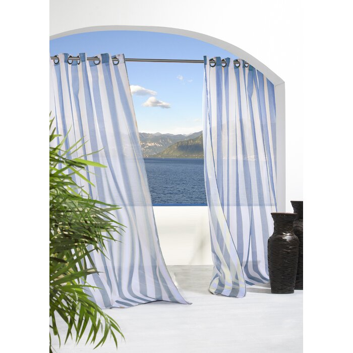 Odessa Striped Sheer Outdoor Grommet Single Curtain Panel Throughout Ocean Striped Window Curtain Panel Pairs With Grommet Top (#18 of 41)