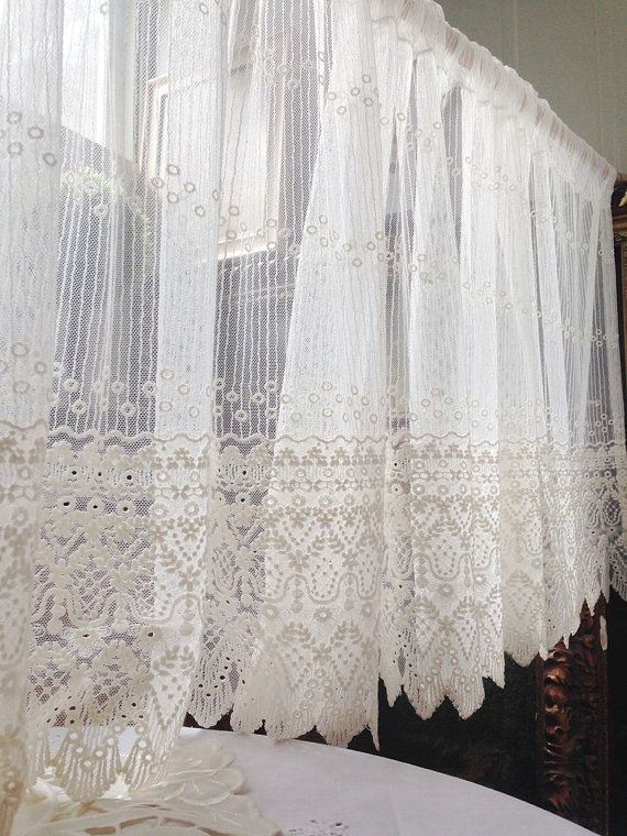 Off White Embroidery Lace Valance Cafe Curtain – One Panel For Luxurious Old World Style Lace Window Curtain Panels (View 24 of 50)
