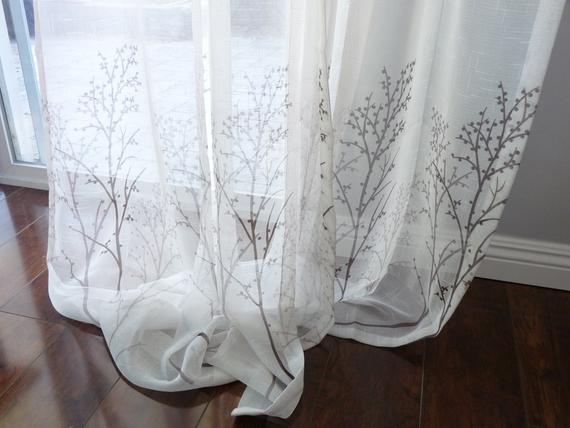 Off White Sheer Curtain Voile Panel With Printed Tree Pattern. One Panel.  Choose Width And Length. Custom Made To Order. Faux Linen Sheer (View 26 of 32)