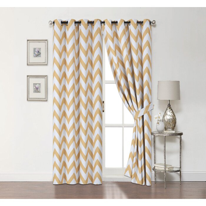 Ojas Top Window Chevron Blackout Thermal Grommet Curtain Panels In Chevron Blackout Grommet Curtain Panels (View 35 of 50)