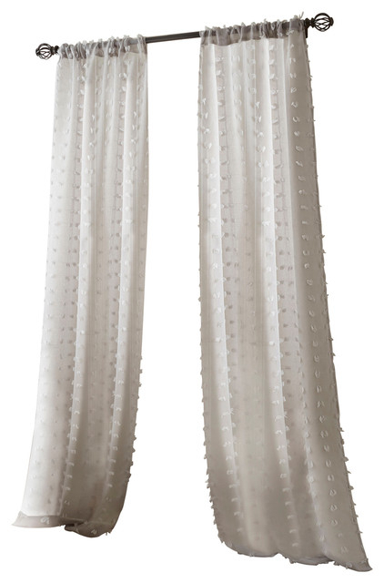 "Olly Solid Sheer Curtain Panel Pair, Gray, 37""x84"" With Tassels Applique Sheer Rod Pocket Top Curtain Panel Pairs (View 22 of 45)"