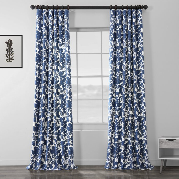 Olmeda Blue Printed Floral/flower Room Darkening Rod Pocket Single Curtain  Panel With Regard To Ikat Blue Printed Cotton Curtain Panels (#39 of 50)