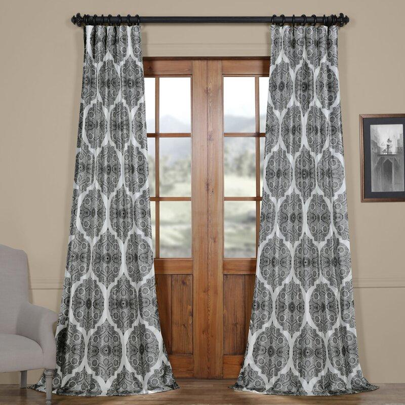 Omara Printed Faux Silk Taffeta Blackout Single Curtain Panel Inside Faux Silk Extra Wide Blackout Single Curtain Panels (View 40 of 50)