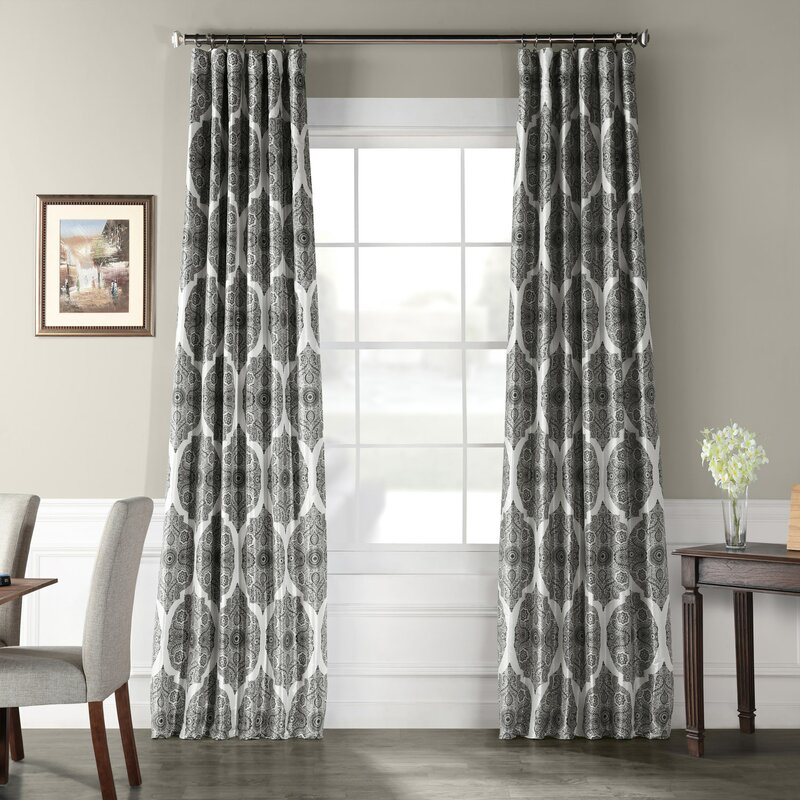 Omara Printed Faux Silk Taffeta Blackout Single Curtain Panel Intended For Faux Silk Taffeta Solid Blackout Single Curtain Panels (View 41 of 50)