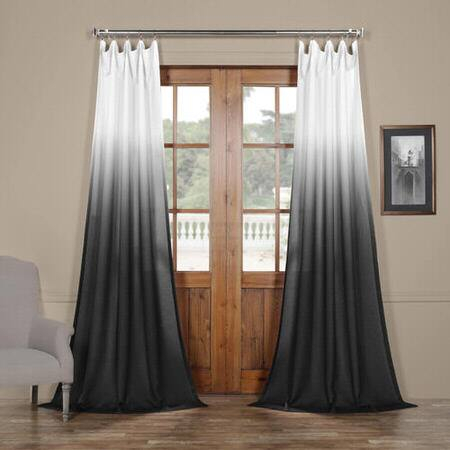 Ombre Black Faux Linen Sheer Curtain – E Stim Bicable Is Intended For Montpellier Striped Linen Sheer Curtains (#33 of 50)