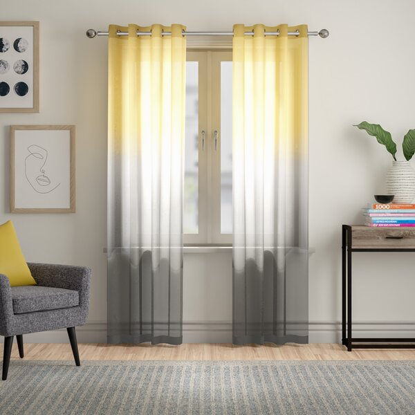 Ombre Grey Curtains | Wayfair For Ombre Stripe Yarn Dyed Cotton Window Curtain Panel Pairs (View 23 of 31)