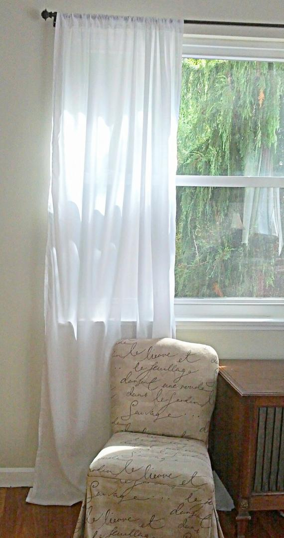 One Cotton Batiste Curtain Panel Custom Order – Shabby And Chic Drapery  Panel Curtain Home Design – Light Filtering Semi Sheer Home Drape With Regard To Light Filtering Sheer Single Curtain Panels (#24 of 38)