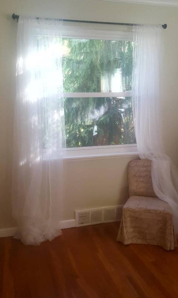 One White Net Lace Sheer Curtain Panel – Home Decor Drapery Light Filtering  Drapes Privacy Bedroom Decoration Nursery Window Design Fabric With Light Filtering Sheer Single Curtain Panels (#25 of 38)