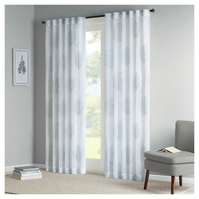 Ophelia Sheer Branch Flocking Curtain Panel Aqua (50X84 Pertaining To Vina Sheer Bird Single Curtain Panels (View 5 of 38)