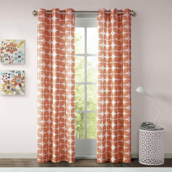 Orange + Blue For Baby | L'apartment | Geometric Curtains With Regard To Essentials Almaden Fretwork Printed Grommet Top Curtain Panel Pairs (#30 of 38)