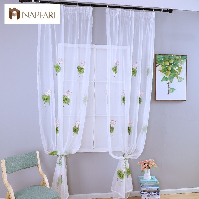 Order Cheap Summer Tulle Curtains White Modern Sheer Panel Throughout Kida Embroidered Sheer Curtain Panels (#27 of 50)