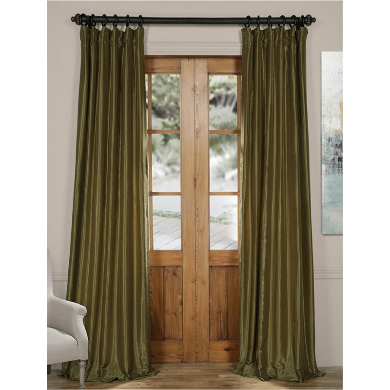 Oregano Green Vintage Textured Faux Dupioni Silk Curtain –  Curtain Drapery Intended For Ice White Vintage Faux Textured Silk Curtain Panels (View 34 of 50)