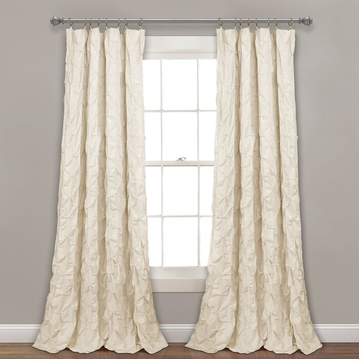 Ornelas Pintuck Solid Sheer Rod Pocket Single Curtain Panel For Fretwork Print Pattern Single Curtain Panels (View 16 of 46)