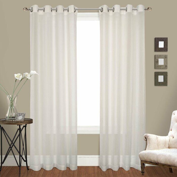 Ortley Crushed Voile Solid Sheer Grommet Curtain Panel Pair With Pairs To Go Victoria Voile Curtain Panel Pairs (#10 of 30)