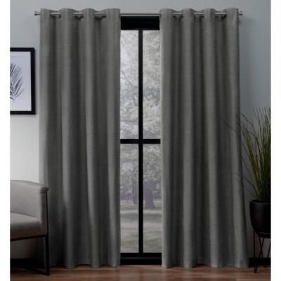 Oxford Navy Textured Sateen Thermal Grommet Top Window Within Embossed Thermal Weaved Blackout Grommet Drapery Curtains (View 29 of 42)