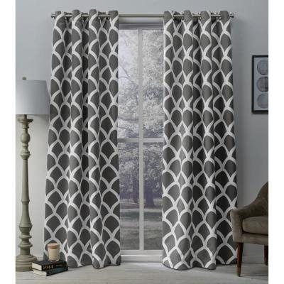 Oxford Vanilla Textured Sateen Thermal Grommet Top Window Within Geometric Print Textured Thermal Insulated Grommet Curtain Panels (View 33 of 45)