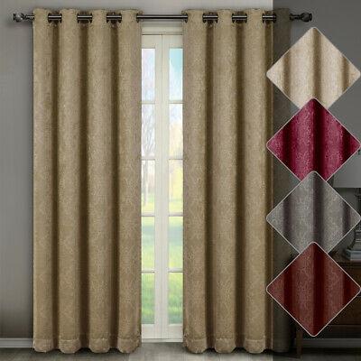 (Pair Of 2) Bella Blackout Weave Embossed Grommet Window Curtain Panels |  Ebay For Embossed Thermal Weaved Blackout Grommet Drapery Curtains (View 1 of 42)