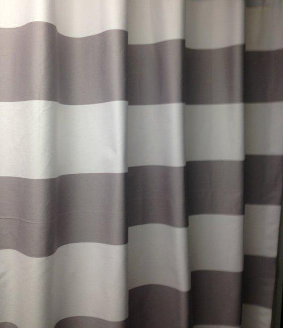 "Pair Of Designer Grommet Curtain Panels Drapes, Horizontal 3"" Stripes Grey  And White Decorator Cotton Intended For Ocean Striped Window Curtain Panel Pairs With Grommet Top (#19 of 41)"