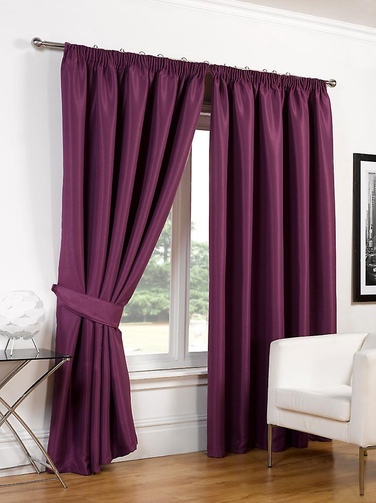 Pair Of Faux Silk Pencil Pleat Blackout Curtains Ready Made Lined Free  Tiebacks Pertaining To Overseas Faux Silk Blackout Curtain Panel Pairs (#33 of 41)