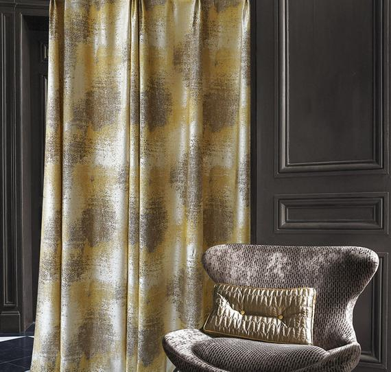 Pair Of Luxury Jacquard Window Curtain Panels With Patterns, Bedroom Living  Room Blackout Curtains,custom Curtains, Champagne Pertaining To Abstract Blackout Curtain Panel Pairs (#33 of 46)