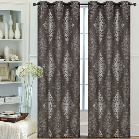 Pair Of Lydia Jacquard Window Panels W/grommets Taupe With Lydia Ruffle Window Curtain Panel Pairs (View 20 of 43)
