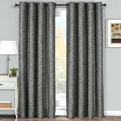 Pair Of Two Top Grommet Blackout Thermal Insulated Gray Intended For Grommet Top Thermal Insulated Blackout Curtain Panel Pairs (View 35 of 50)