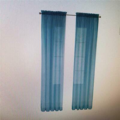 """== Pairs To Go Victoria Voile 84"""" Turquoise Polyester Sheer Curtain Panel  Pair 