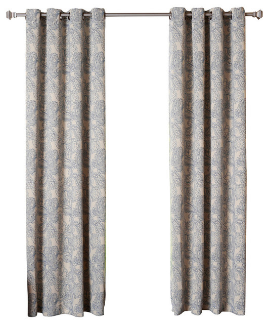"Paisley Stitch Thermal Insulated Blackout Curtains, Pair, Blue, 84"" With Thermal Insulated Blackout Grommet Top Curtain Panel Pairs (#34 of 50)"