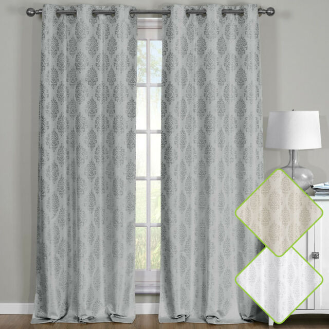 Paisley Thermal Blackout Curtain Panels Grommet Top Window Jacquard Curtain  Pair In Pairs To Go Victoria Voile Curtain Panel Pairs (#21 of 30)