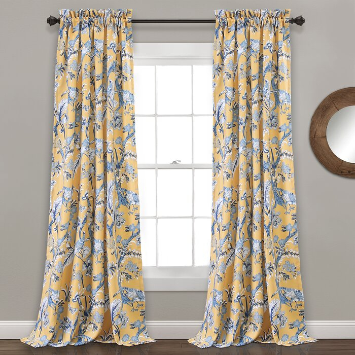Panagia Floral Room Darkening Thermal Rod Pocket Curtain Panels Throughout Rod Pocket Curtain Panels (View 27 of 34)