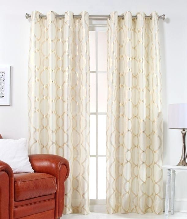 Panel Metallic Gold Curtains Wave Rose Grommet Top Curtain With Total Blackout Metallic Print Grommet Top Curtain Panels (#31 of 50)