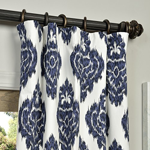 Panels – Half Price Drapes Prtw D24A 96 Printed Cotton In Ikat Blue Printed Cotton Curtain Panels (#40 of 50)