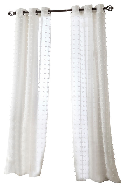 "Payton Grommet Sheer Curtain Panel Pair, White, 37""x84"" Intended For Tassels Applique Sheer Rod Pocket Top Curtain Panel Pairs (View 23 of 45)"