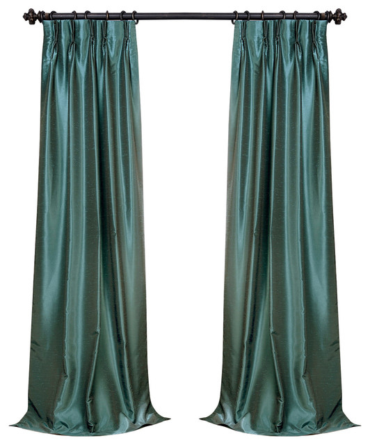 """Peacock Blackout Textured Fauxdupioni Pleated Curtain Single Panel, 25""""x96"""" Intended For Storm Grey Vintage Faux Textured Dupioni Single Silk Curtain Panels (View 15 of 50)"""