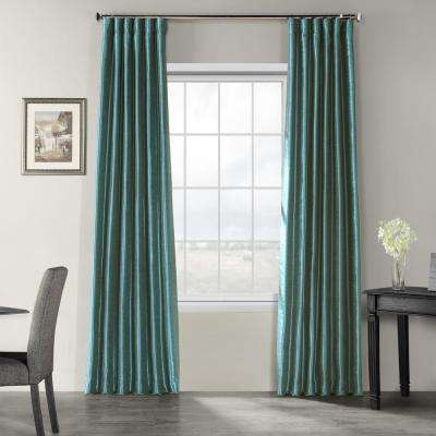 Peacock Blue Vintage Textured Faux Dupioni Silk Light Filtering Curtain –  50 In. W X 120 In (View 24 of 50)