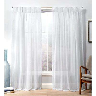 Penny Pp Winter White Sheer Triple Pinch Pleat Top Curtain Panel – 27 In. W  X 84 In (#30 of 50)