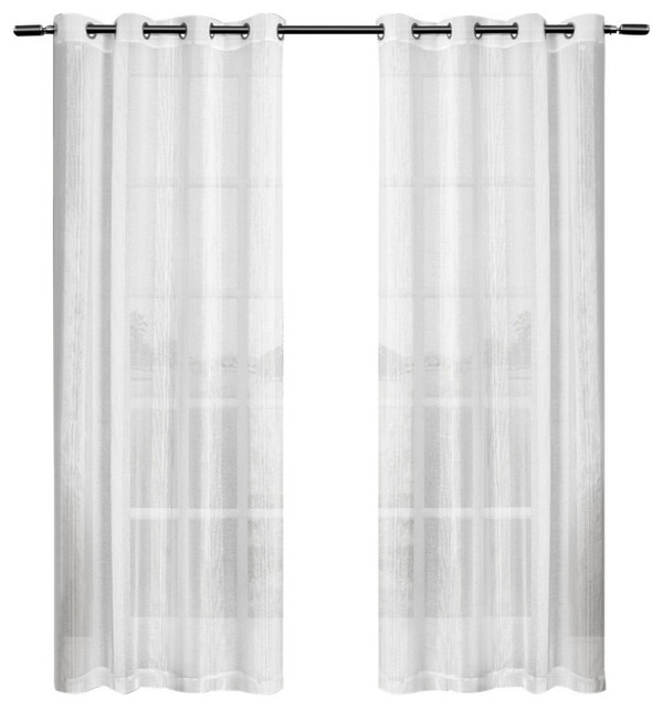 "Penny Sheer Grommet Top Window Curtain Panels, 50""84"", Set Of 2, White Inside Penny Sheer Grommet Top Curtain Panel Pairs (#41 of 49)"