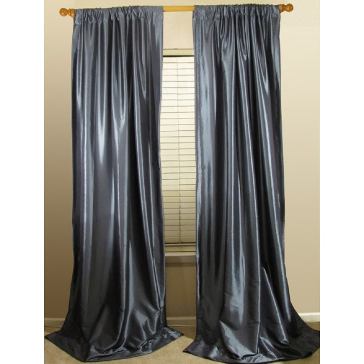 Perfect Faux Silk Curtains And Solid Faux Silk Taffeta Regarding Solid Faux Silk Taffeta Graphite Single Curtain Panels (#39 of 50)
