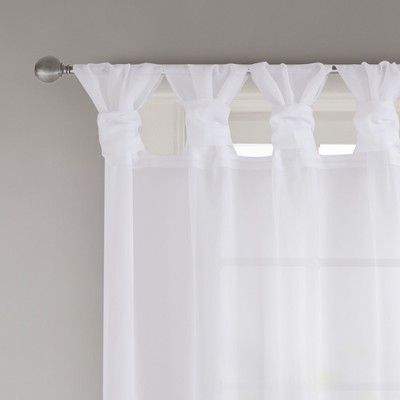 "Persis Twisted Tab Voile Sheer Window Pair White 50""x63"" In With Regard To Elowen White Twist Tab Voile Sheer Curtain Panel Pairs (View 26 of 36)"