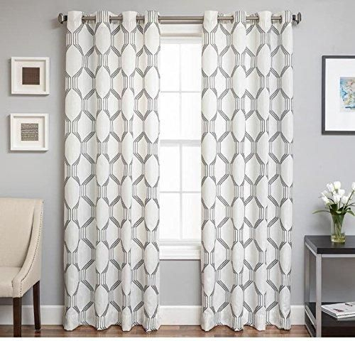 Pewter Gray 84 Inches Geometric Pattern Lattice Grid Line Intended For Overseas Leaf Swirl Embroidered Curtain Panel Pairs (View 18 of 50)