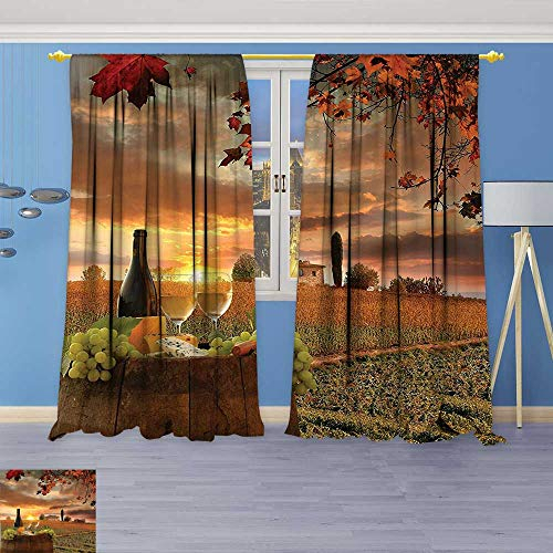 Philiphome Embossed Thermal Weaved Grommet Blackout Curtains Collection  White Wine With Barrel On Vineyard At Sunset In Chianti Tuscany Italy  Blocks Regarding Embossed Thermal Weaved Blackout Grommet Drapery Curtains (View 31 of 42)