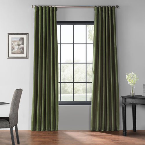 Pine Green 108 X 50 Inch Blackout Vintage Textured Faux Silk Curtain Single Panel Throughout Luxury Collection Faux Leather Blackout Single Curtain Panels (View 12 of 42)