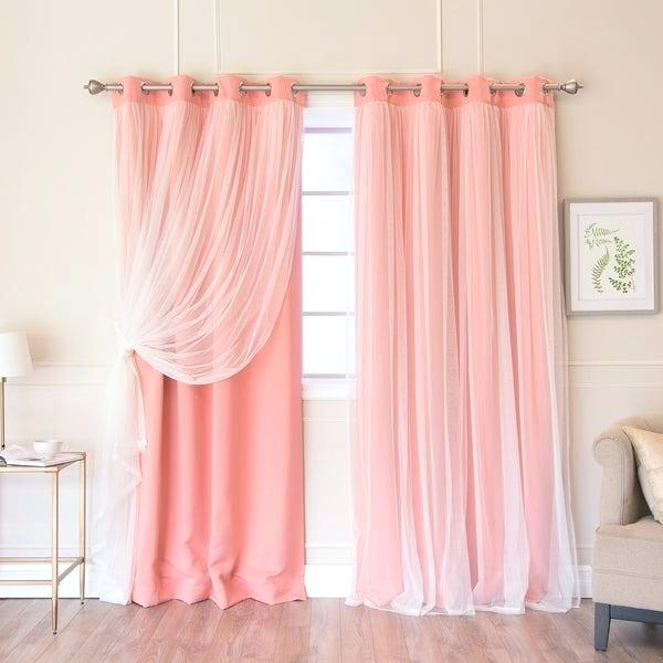 Pink And Grey Blackout Curtains – Marianogutierrez Regarding Star Punch Tulle Overlay Blackout Curtain Panel Pairs (#37 of 50)