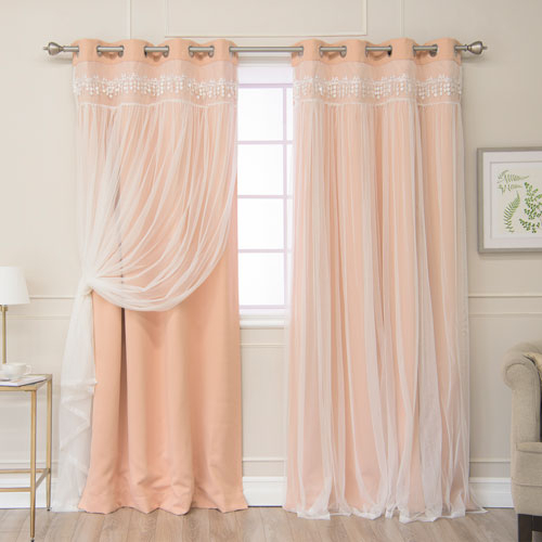 Pink Panel Pair Curtains And Drapes | Bellacor Intended For Lydia Ruffle Window Curtain Panel Pairs (View 24 of 43)