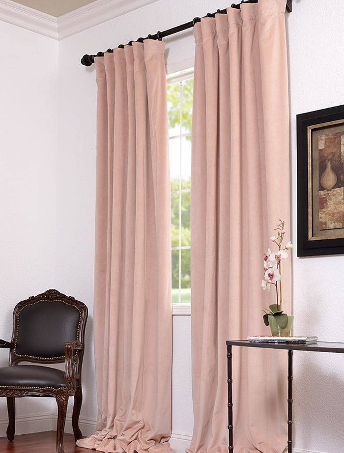 Pink Velvet Drapes | Pink Velvet Curtains, 108 Inch Curtains For Warm Black Velvet Single Blackout Curtain Panels (#27 of 48)