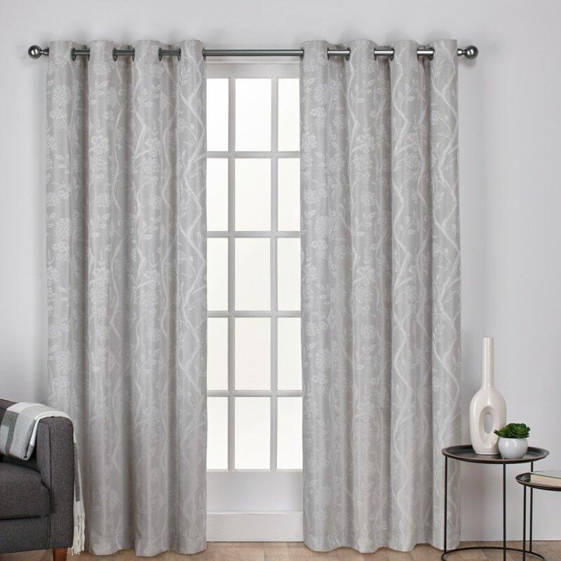 Pittsfield Floral/flower Room Darkening Grommet Curtain Panels In Oakdale Textured Linen Sheer Grommet Top Curtain Panel Pairs (View 25 of 41)
