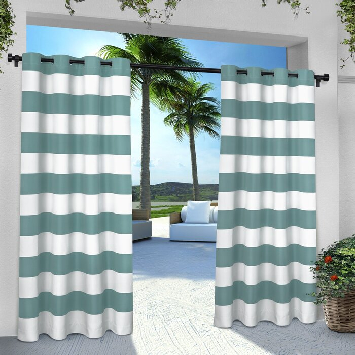 Plant City Striped Room Darkening Grommet Curtain Panels With Ocean Striped Window Curtain Panel Pairs With Grommet Top (#23 of 41)