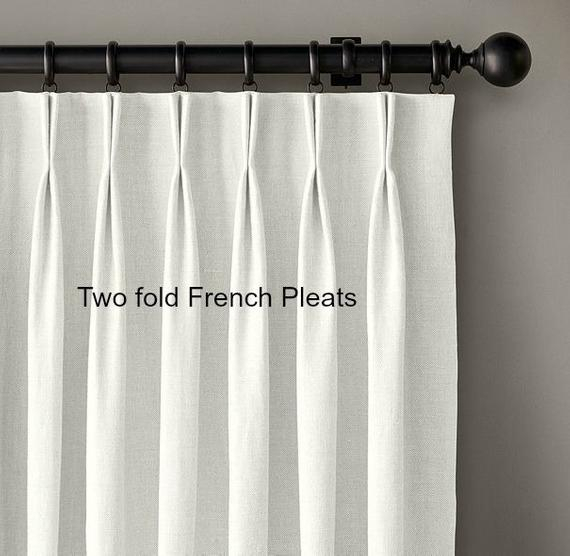 Pleated Linen Curtains, Linen Drapes, Greek Key Trim, Lined Curtain Panels  Off White, Within French Linen Lined Curtain Panels (View 43 of 50)