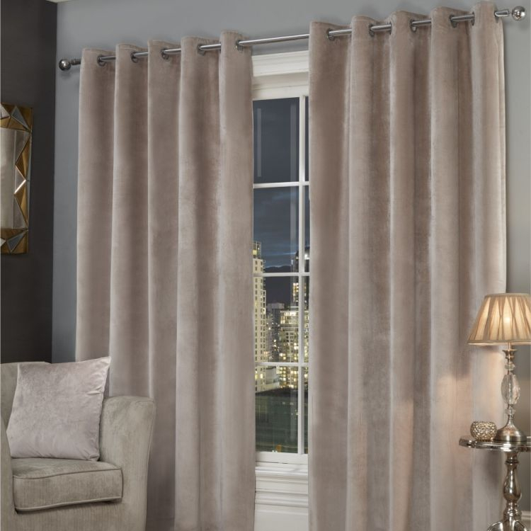 Plush Velvet | Fully Lined | Eyelet | Curtains | Stone Regarding Heritage Plush Velvet Curtains (View 37 of 50)