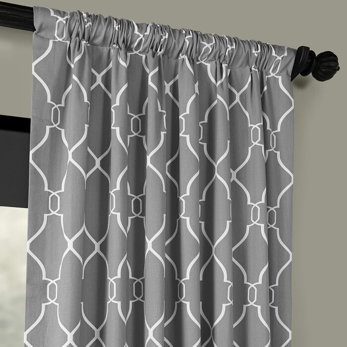 Pocono Printed Cotton Rod Pocket Single Curtain Panel Inside Edward Moroccan Pattern Room Darkening Curtain Panel Pairs (View 31 of 50)